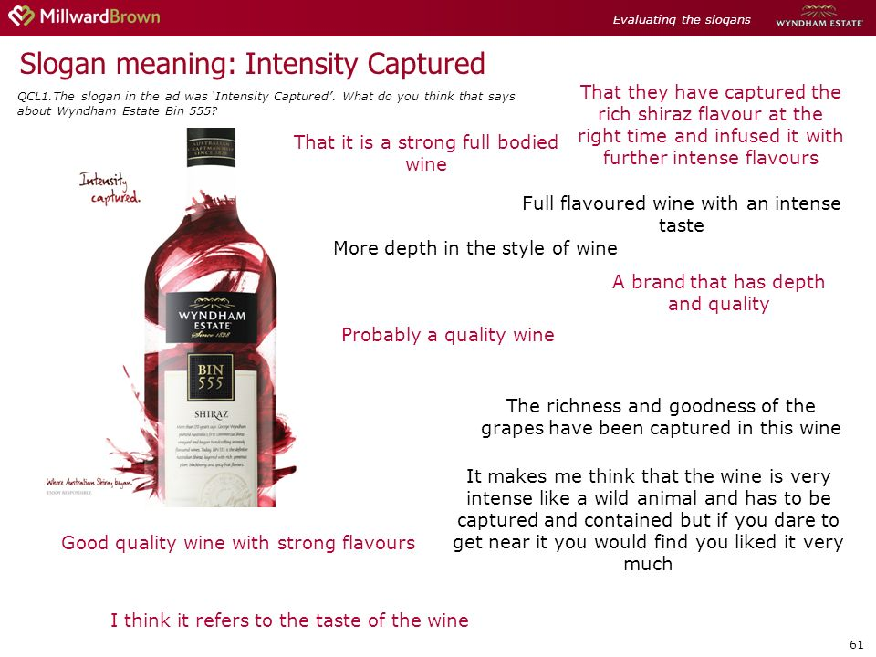 61 Slogan meaning: Intensity Captured The richness and goodness of the grapes have been captured in this wine I think it refers to the taste of the wine Full flavoured wine with an intense taste That it is a strong full bodied wine More depth in the style of wine A brand that has depth and quality Good quality wine with strong flavours That they have captured the rich shiraz flavour at the right time and infused it with further intense flavours It makes me think that the wine is very intense like a wild animal and has to be captured and contained but if you dare to get near it you would find you liked it very much Probably a quality wine Evaluating the slogans QCL1.The slogan in the ad was Intensity Captured.