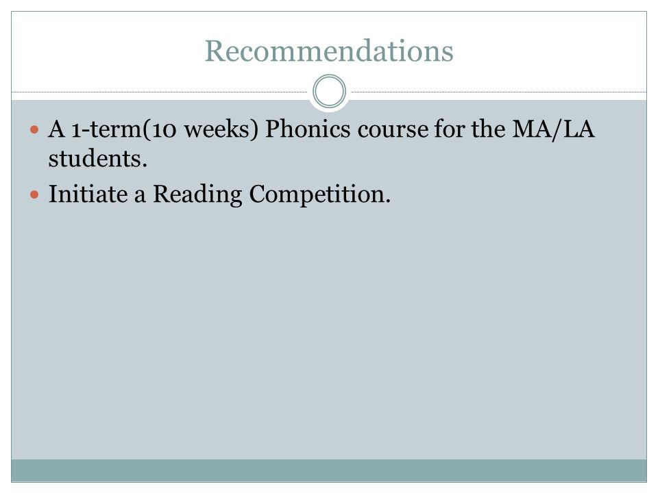 Recommendations A 1-term(10 weeks) Phonics course for the MA/LA students.