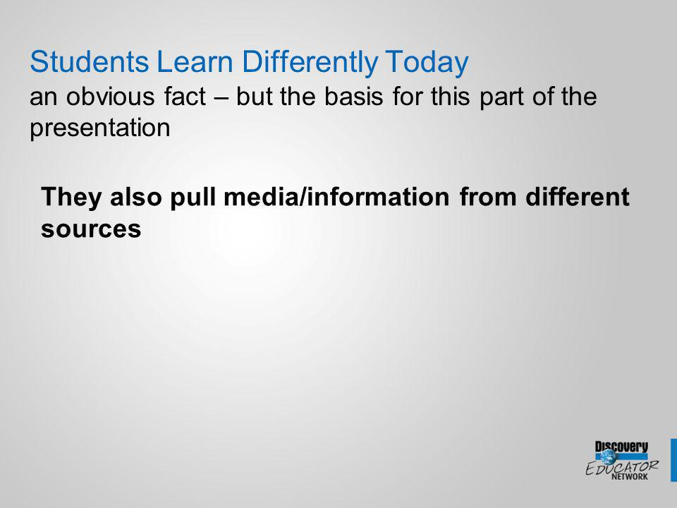 Students Learn Differently Today an obvious fact – but the basis for this part of the presentation They also pull media/information from different sources