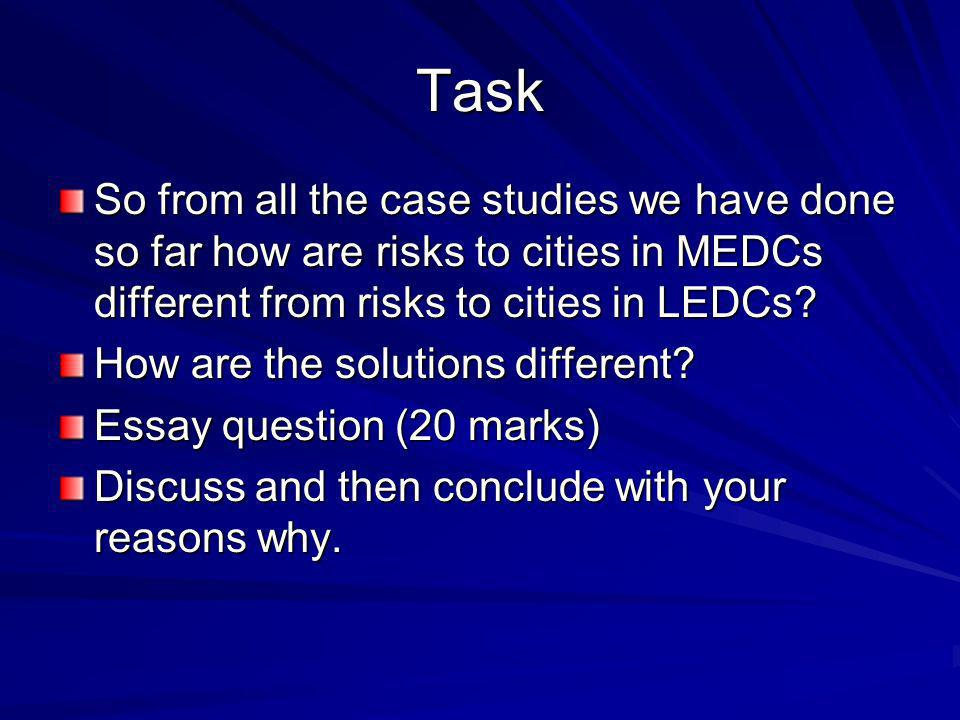 Task So from all the case studies we have done so far how are risks to cities in MEDCs different from risks to cities in LEDCs.