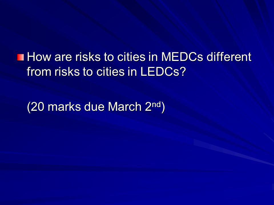 How are risks to cities in MEDCs different from risks to cities in LEDCs.