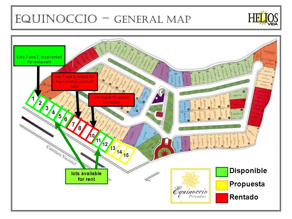Disponible Propuesta Rentado Equinoccio – GENERAL MAP lots 9 and 10 rented for notary lots 7 and 8,rented for fractionation point of sale lots available for rent Lots 1 and 2, local rented for restaurant