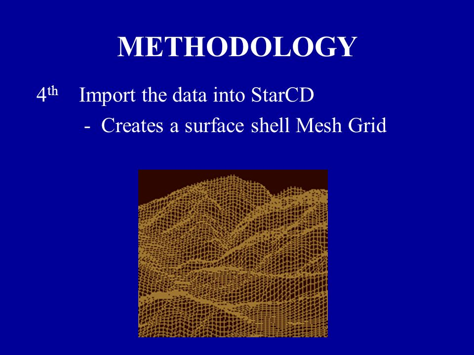 METHODOLOGY 4 th Import the data into StarCD - Creates a surface shell Mesh Grid