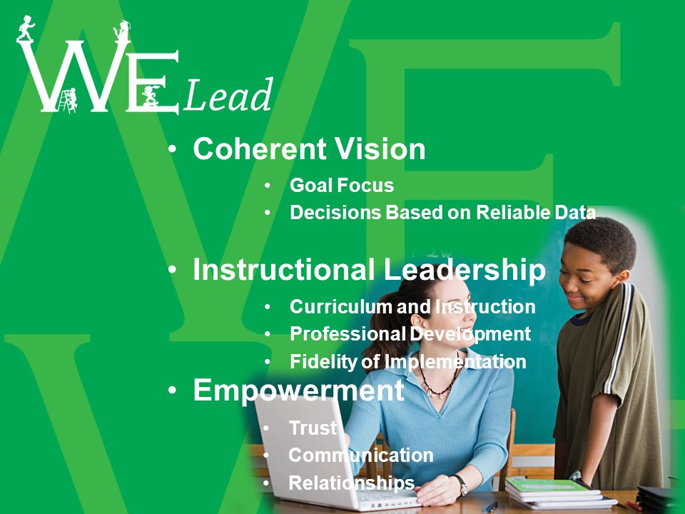 Coherent Vision Instructional Leadership Empowerment Goal Focus Decisions Based on Reliable Data Curriculum and Instruction Professional Development Fidelity of Implementation Trust Communication Relationships