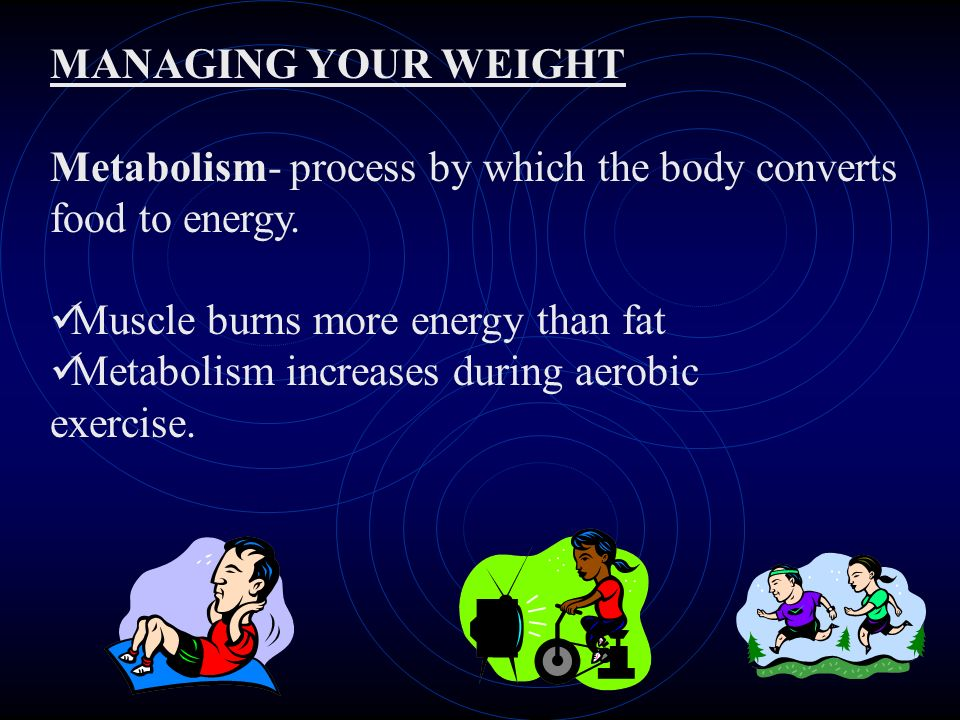 MANAGING YOUR WEIGHT Metabolism- process by which the body converts food to energy.
