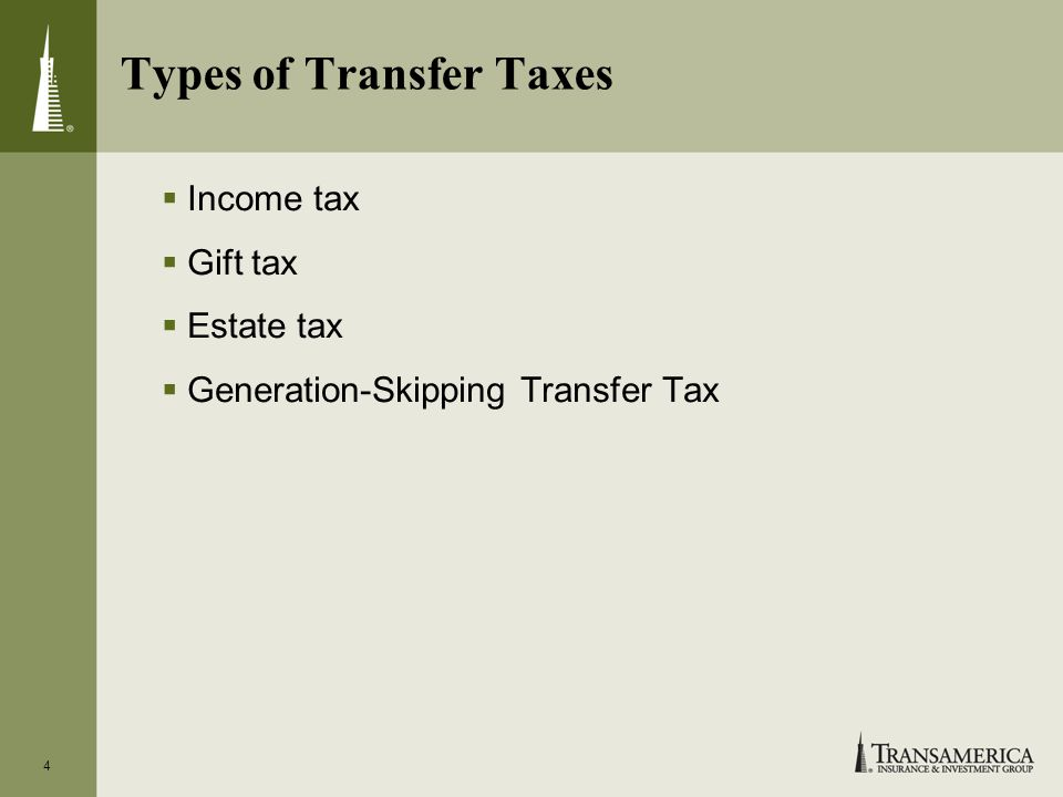 4 Types of Transfer Taxes Income tax Gift tax Estate tax Generation-Skipping Transfer Tax