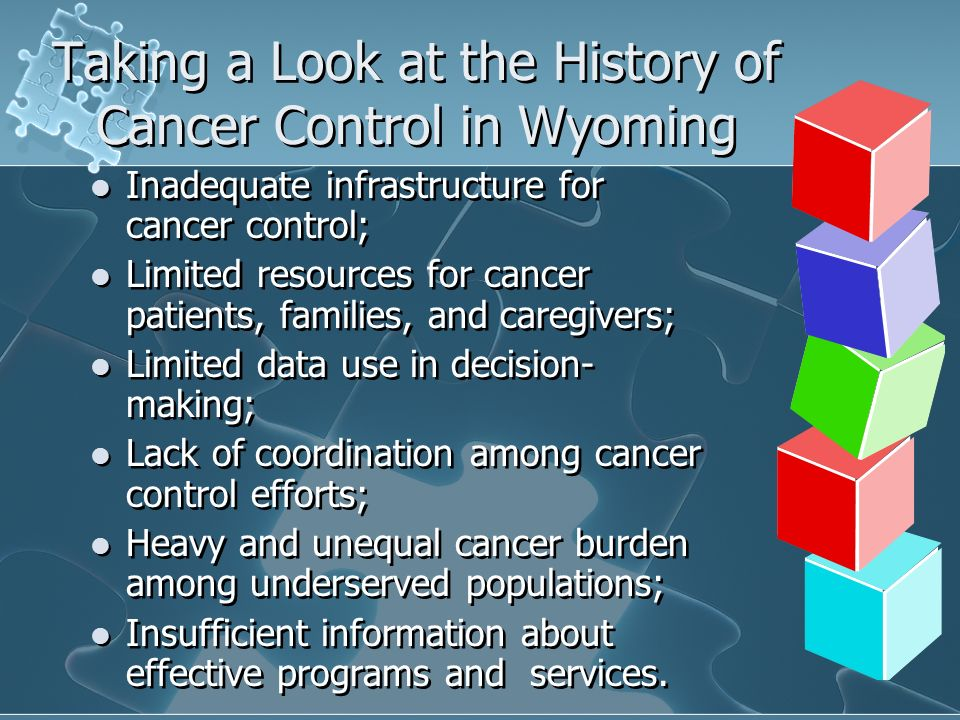 Taking a Look at the History of Cancer Control in Wyoming Inadequate infrastructure for cancer control; Limited resources for cancer patients, families, and caregivers; Limited data use in decision- making; Lack of coordination among cancer control efforts; Heavy and unequal cancer burden among underserved populations; Insufficient information about effective programs and services.