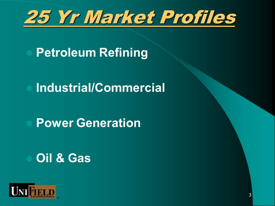 3 25 Yr Market Profiles Petroleum Refining Industrial/Commercial Power Generation Oil & Gas