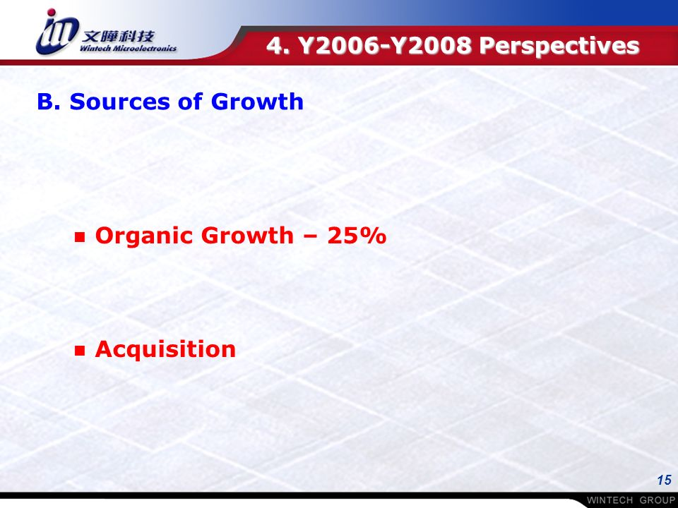 15 n Organic Growth – 25% n Acquisition 4. Y2006-Y2008 Perspectives B. Sources of Growth
