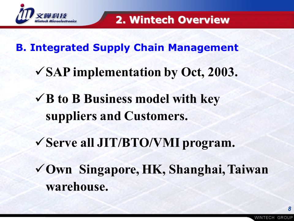8 SAP implementation by Oct, B to B Business model with key suppliers and Customers.