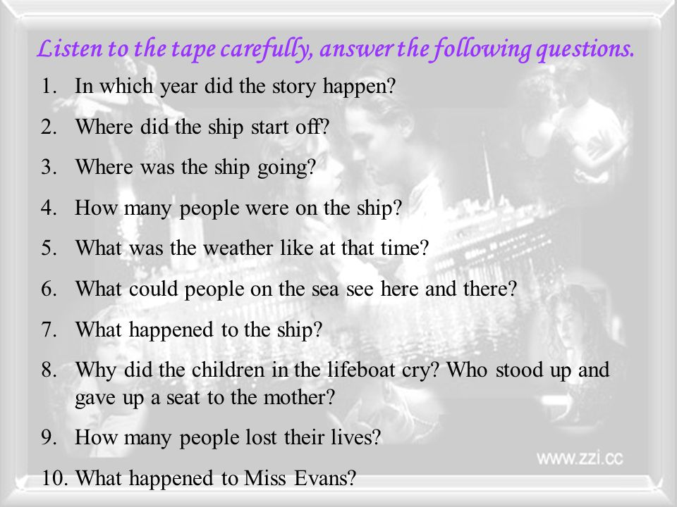 Listen to the tape carefully, answer the following questions.