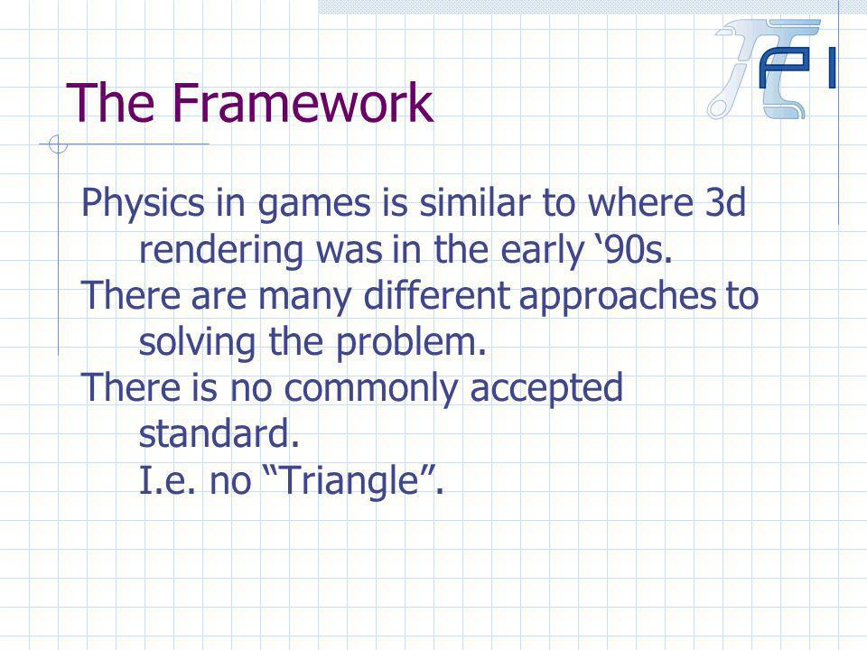 The Framework Physics in games is similar to where 3d rendering was in the early 90s.