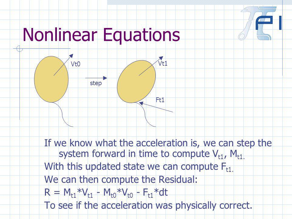 Nonlinear Equations If we know what the acceleration is, we can step the system forward in time to compute V t1, M t1.