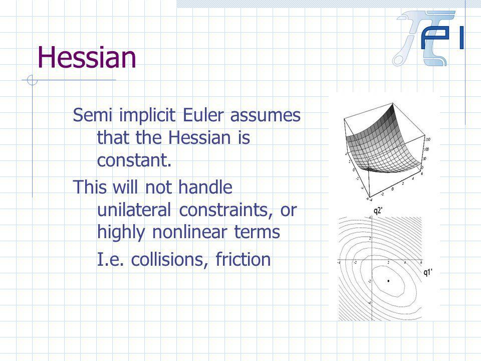 Hessian Semi implicit Euler assumes that the Hessian is constant.