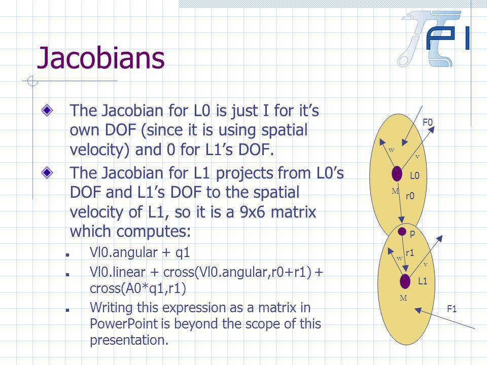 Jacobians The Jacobian for L0 is just I for its own DOF (since it is using spatial velocity) and 0 for L1s DOF.