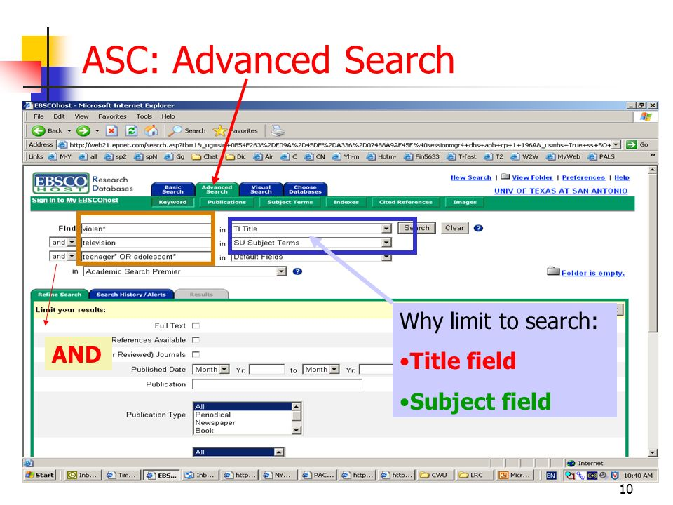 10 ASC: Advanced Search AND Why limit to search: Title field Subject field