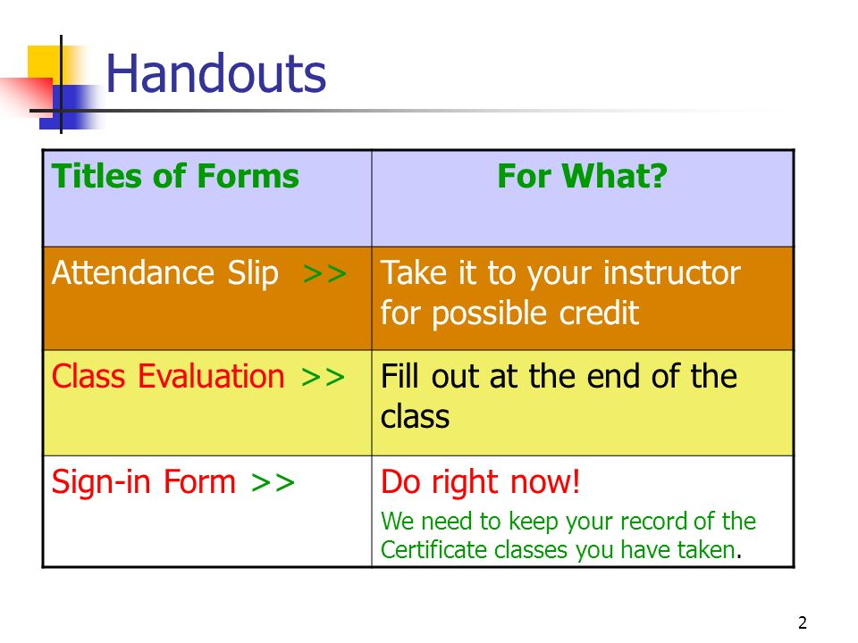 2 Handouts Titles of FormsFor What.