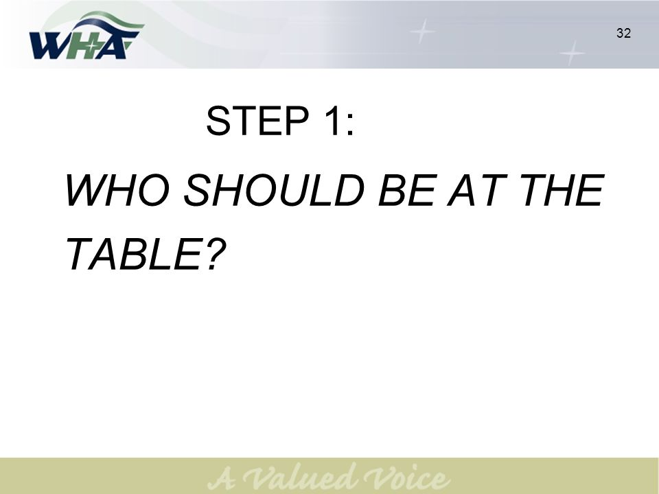 32 STEP 1: WHO SHOULD BE AT THE TABLE 32
