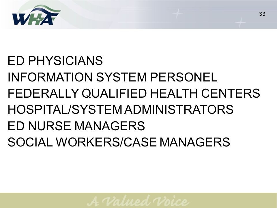 33 ED PHYSICIANS INFORMATION SYSTEM PERSONEL FEDERALLY QUALIFIED HEALTH CENTERS HOSPITAL/SYSTEM ADMINISTRATORS ED NURSE MANAGERS SOCIAL WORKERS/CASE MANAGERS 33
