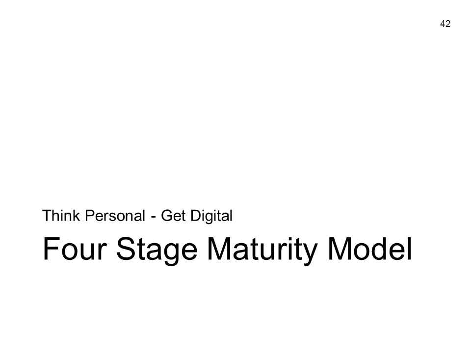 42 Four Stage Maturity Model Think Personal - Get Digital