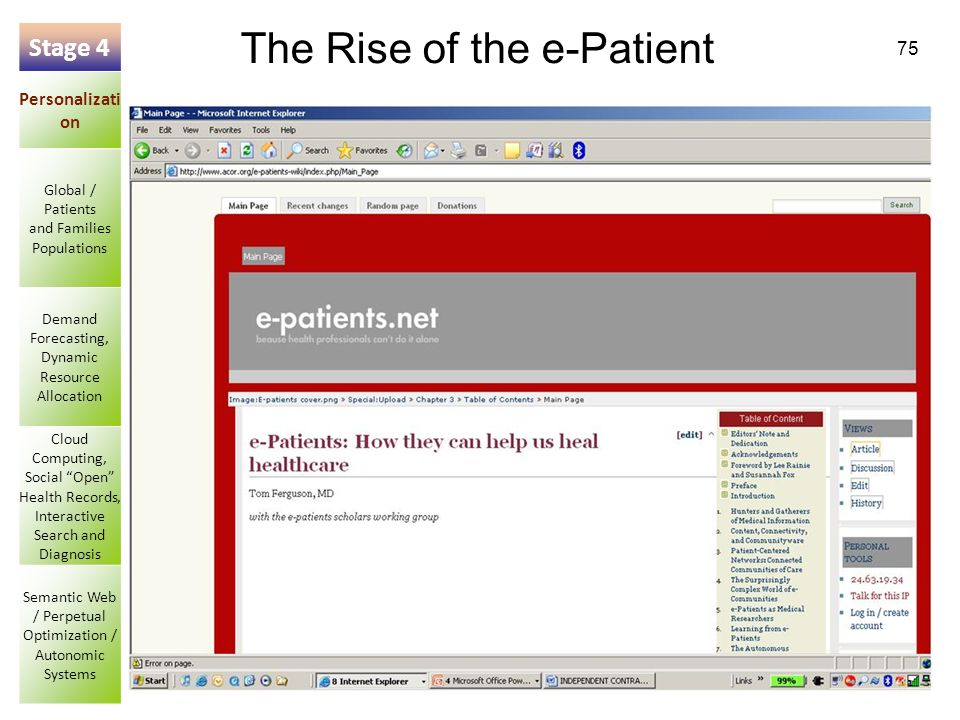 75 The Rise of the e-Patient Stage 4 Personalizati on Global / Patients and Families Populations Demand Forecasting, Dynamic Resource Allocation Cloud Computing, Social Open Health Records, Interactive Search and Diagnosis Semantic Web / Perpetual Optimization / Autonomic Systems