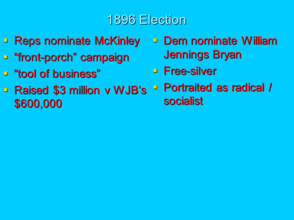 1896 Election Reps nominate McKinley Reps nominate McKinley front-porch campaign front-porch campaign tool of business tool of business Raised $3 million v WJBs $600,000 Raised $3 million v WJBs $600,000 Dem nominate William Jennings Bryan Dem nominate William Jennings Bryan Free-silver Free-silver Portraited as radical / socialist Portraited as radical / socialist