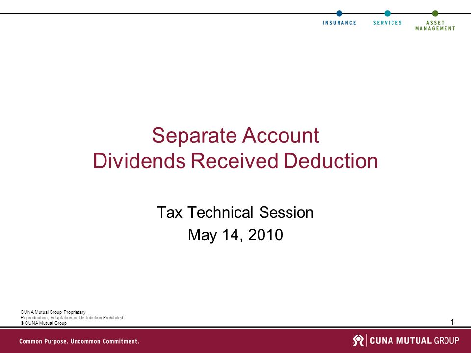 1 CUNA Mutual Group Proprietary Reproduction, Adaptation or Distribution Prohibited © CUNA Mutual Group Separate Account Dividends Received Deduction Tax Technical Session May 14, 2010