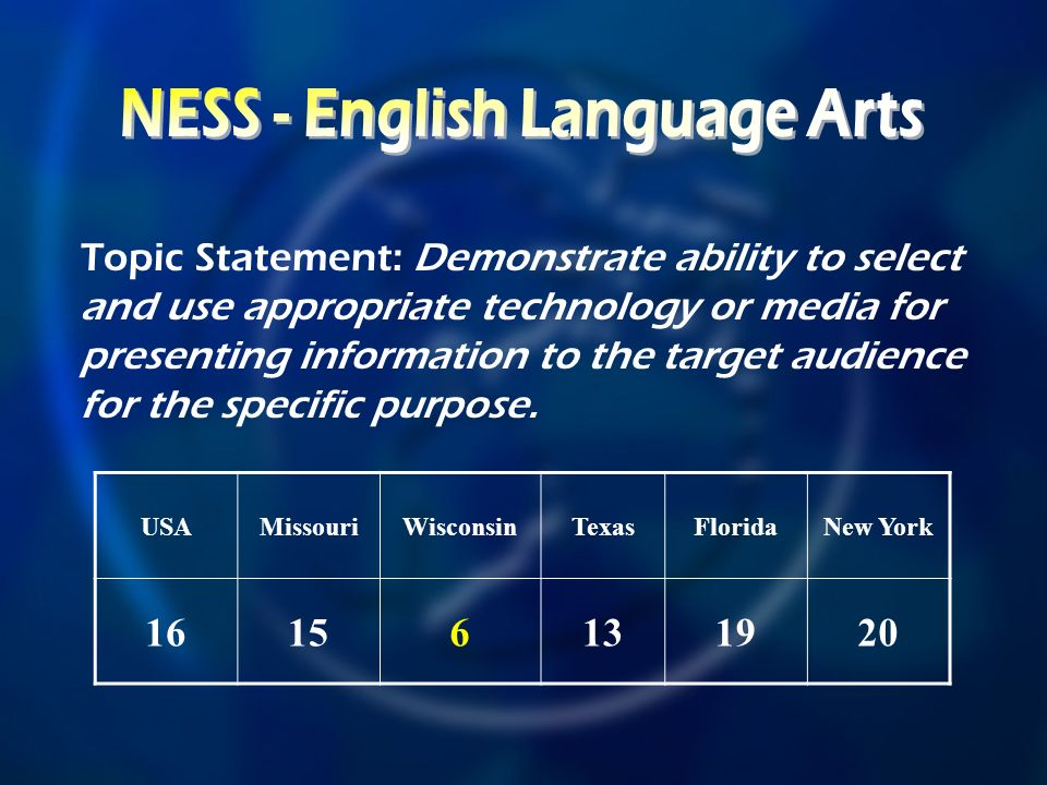 USAMissouriWisconsinTexasFloridaNew York Topic Statement: Demonstrate ability to select and use appropriate technology or media for presenting information to the target audience for the specific purpose.