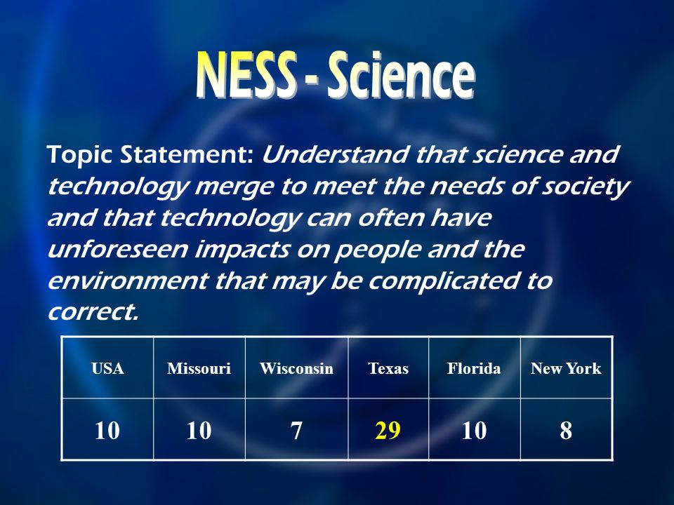 USAMissouriWisconsinTexasFloridaNew York Topic Statement: Understand that science and technology merge to meet the needs of society and that technology can often have unforeseen impacts on people and the environment that may be complicated to correct.