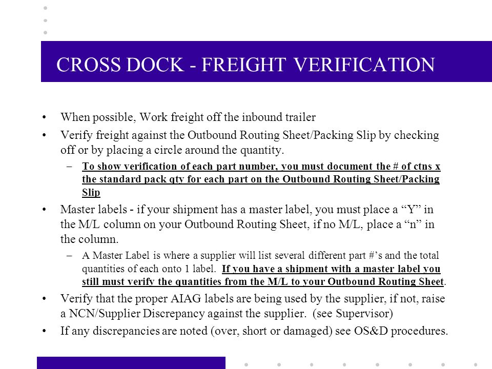 CROSS DOCK - INBOUND FREIGHT Upon receiving your load to break from your Supervisor; –The Dock Supervisor will sign out the load to you and log the details onto the Load Priority Worksheet –Do a visual inspection of your inbound trailer to check for any visual damage that may have occurred during transit If any damage has occured, advise your Supervisor, have a picture taken, and complete an OS&D Exception Report –Release the chains, verify that the trailer number on the citadel screen matches the Outbound Routing Sheets and your Unload List