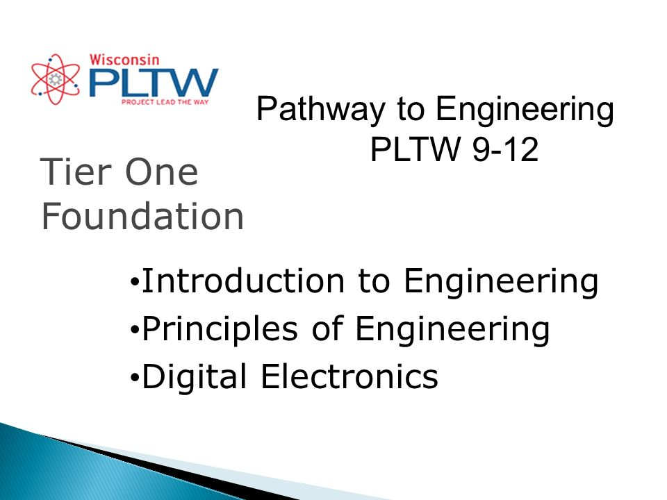 Pathway to Engineering PLTW 9-12 Tier One Foundation Introduction to Engineering Principles of Engineering Digital Electronics