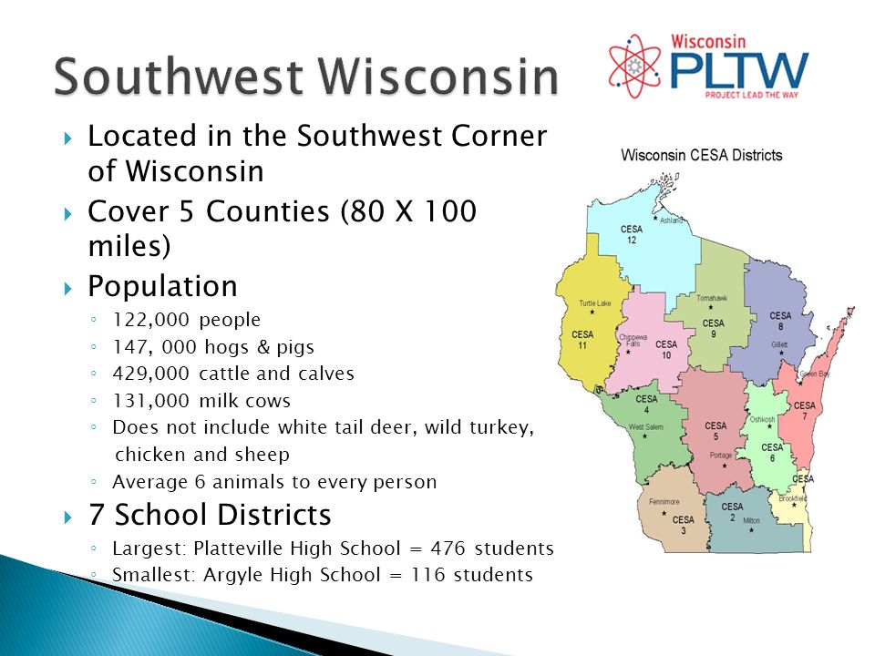 Located in the Southwest Corner of Wisconsin Cover 5 Counties (80 X 100 miles) Population 122,000 people 147, 000 hogs & pigs 429,000 cattle and calves 131,000 milk cows Does not include white tail deer, wild turkey, chicken and sheep Average 6 animals to every person 7 School Districts Largest: Platteville High School = 476 students Smallest: Argyle High School = 116 students