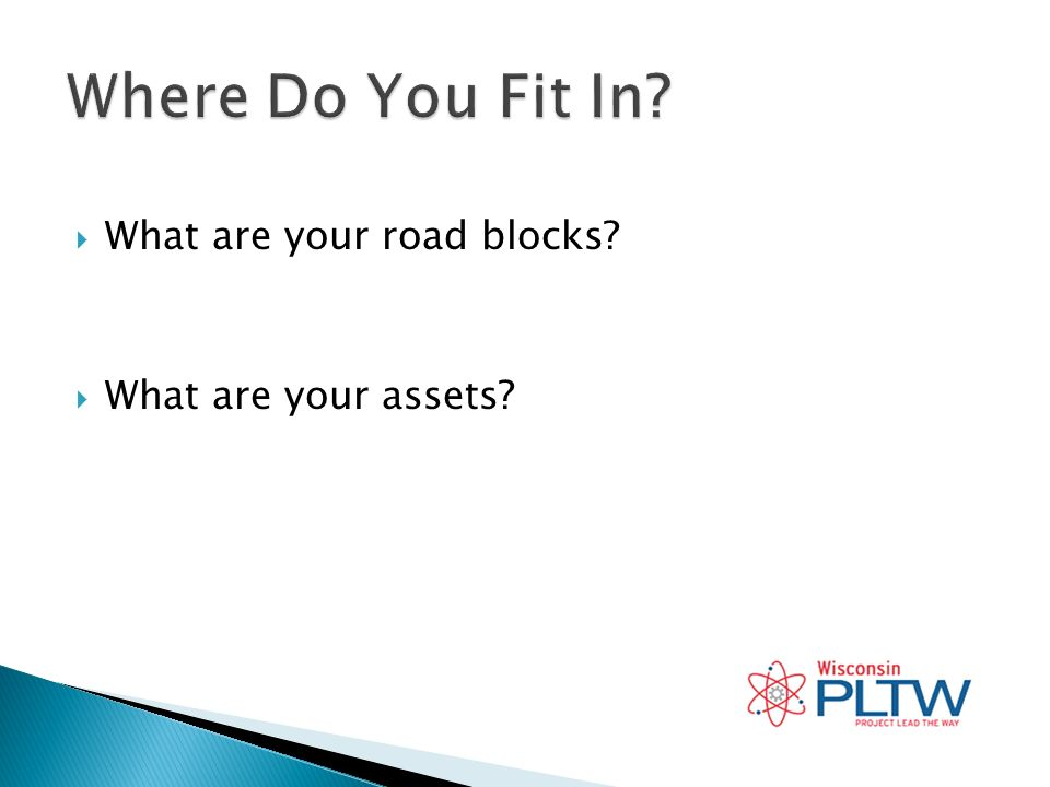 What are your road blocks What are your assets
