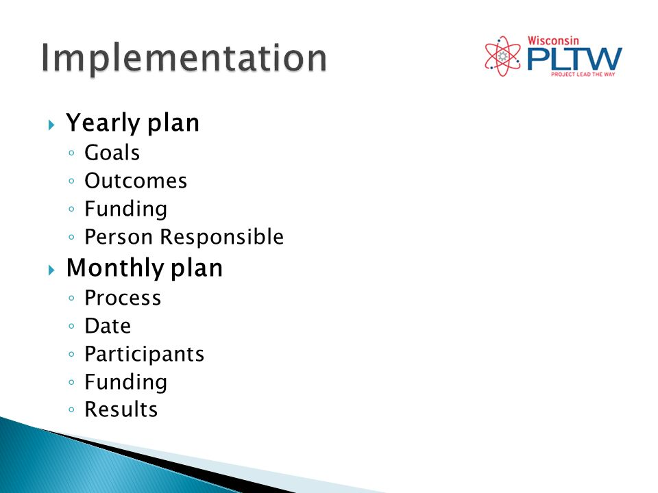 Yearly plan Goals Outcomes Funding Person Responsible Monthly plan Process Date Participants Funding Results