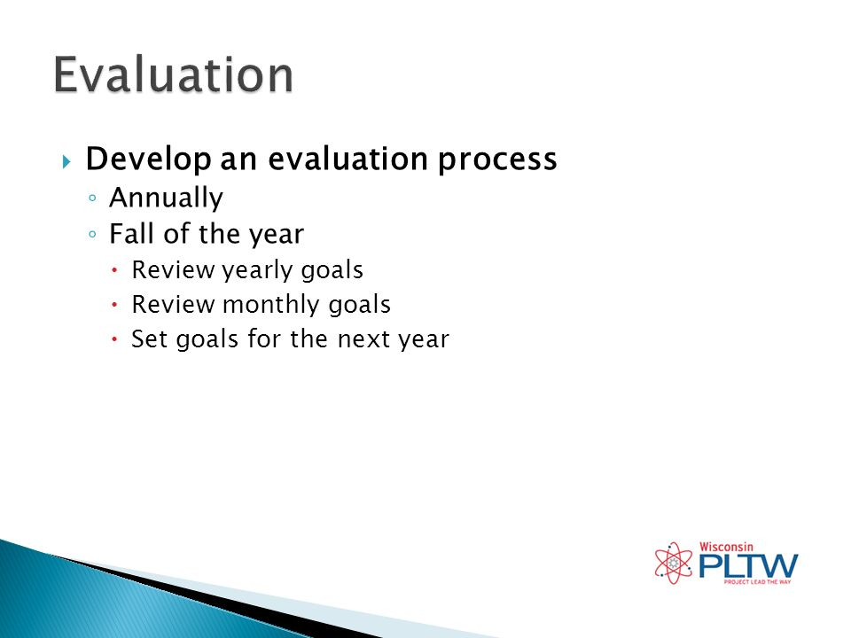 Develop an evaluation process Annually Fall of the year Review yearly goals Review monthly goals Set goals for the next year
