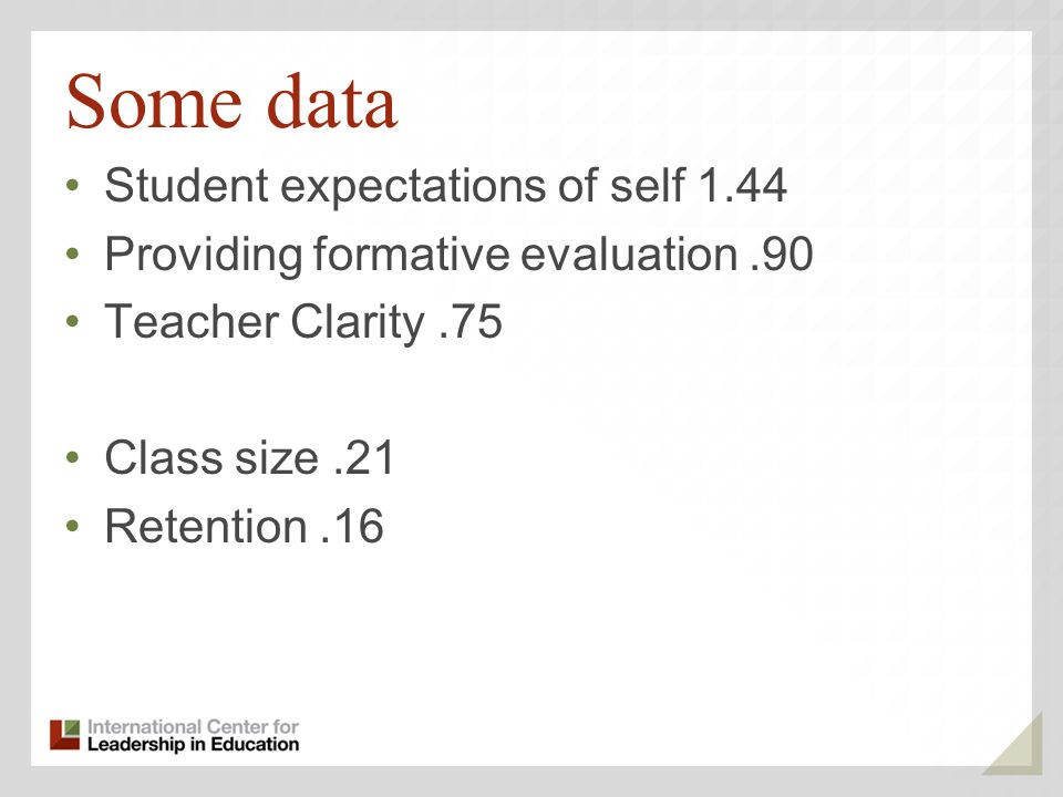 Some data Student expectations of self 1.44 Providing formative evaluation.90 Teacher Clarity.75 Class size.21 Retention.16