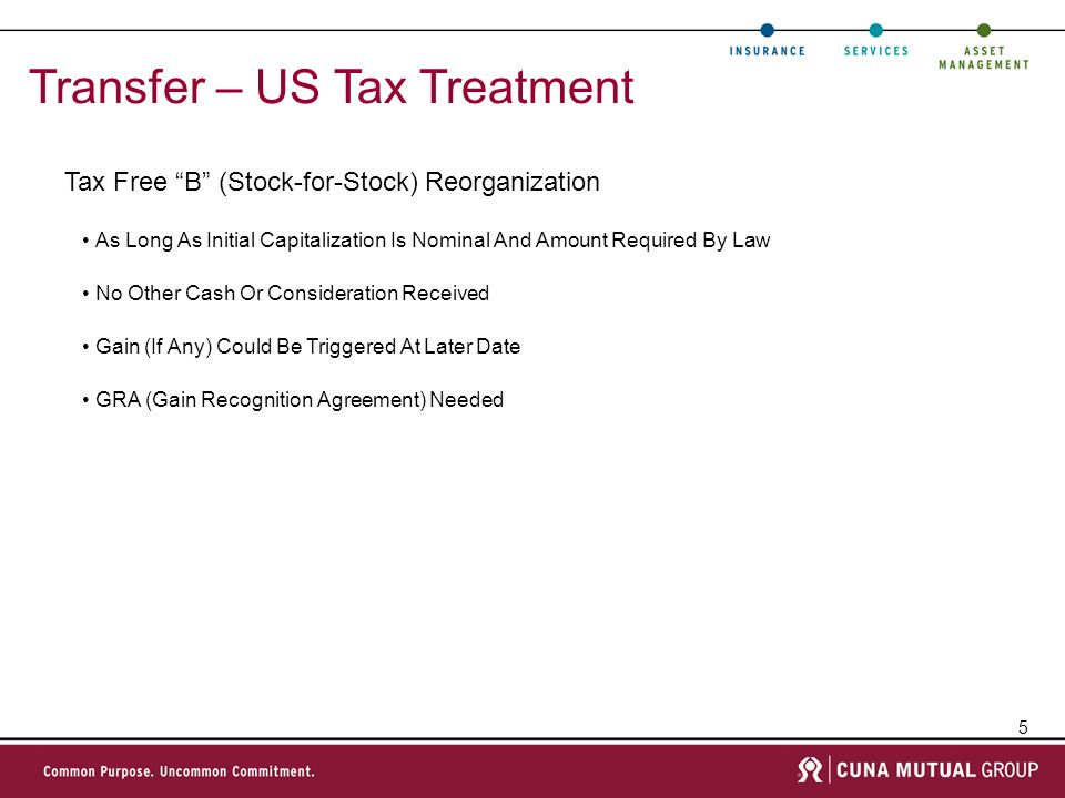 5 Transfer – US Tax Treatment Tax Free B (Stock-for-Stock) Reorganization As Long As Initial Capitalization Is Nominal And Amount Required By Law No Other Cash Or Consideration Received Gain (If Any) Could Be Triggered At Later Date GRA (Gain Recognition Agreement) Needed