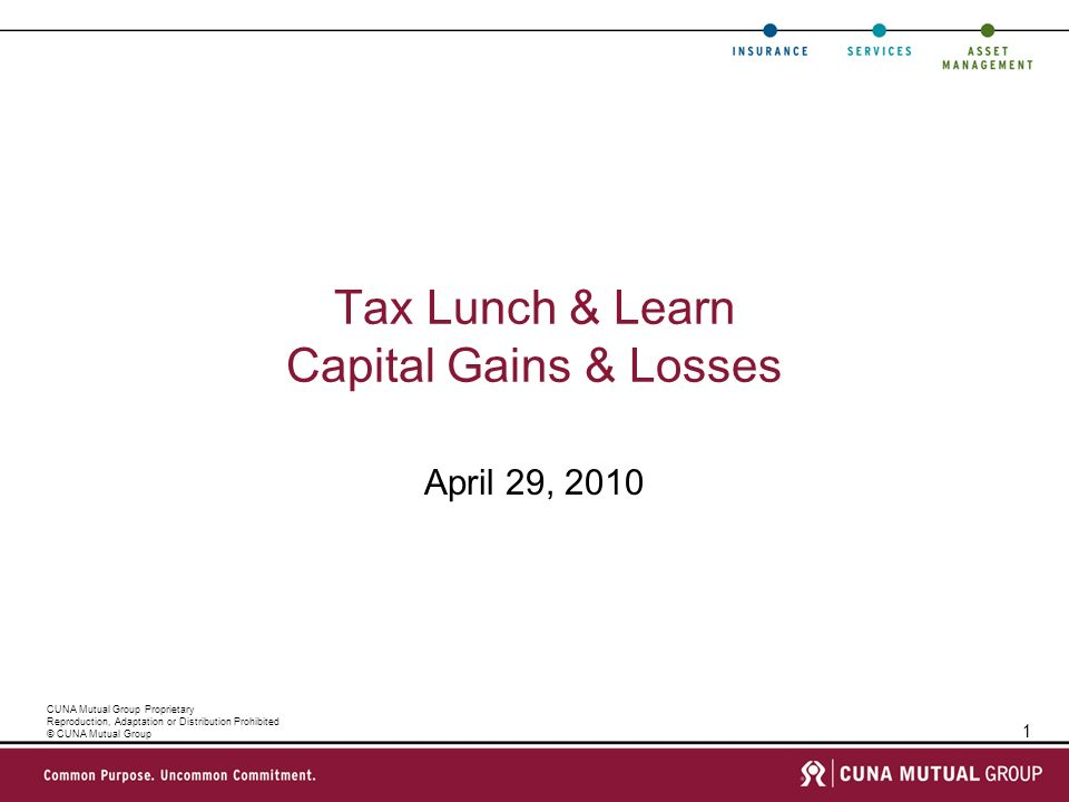 1 CUNA Mutual Group Proprietary Reproduction, Adaptation or Distribution Prohibited © CUNA Mutual Group Tax Lunch & Learn Capital Gains & Losses April 29, 2010