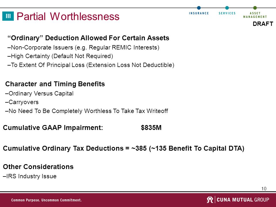 10 DRAFT Partial Worthlessness Cumulative Ordinary Tax Deductions = ~385 (~135 Benefit To Capital DTA) III Ordinary Deduction Allowed For Certain Assets –Non-Corporate Issuers (e.g.