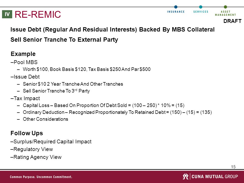 15 DRAFT RE-REMIC Issue Debt (Regular And Residual Interests) Backed By MBS Collateral Sell Senior Tranche To External Party Follow Ups –Surplus/Required Capital Impact –Regulatory View –Rating Agency View IV Example –Pool MBS –Worth $100, Book Basis $120, Tax Basis $250 And Par $500 –Issue Debt –Senior $10 2 Year Tranche And Other Tranches –Sell Senior Tranche To 3 rd Party –Tax Impact –Capital Loss – Based On Proportion Of Debt Sold = (100 – 250) * 10% = (15) –Ordinary Deduction – Recognized Proportionately To Retained Debt = (150) – (15) = (135) –Other Considerations