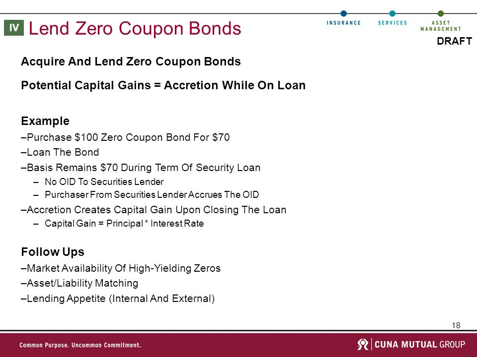 18 DRAFT Lend Zero Coupon Bonds Example –Purchase $100 Zero Coupon Bond For $70 –Loan The Bond –Basis Remains $70 During Term Of Security Loan –No OID To Securities Lender –Purchaser From Securities Lender Accrues The OID –Accretion Creates Capital Gain Upon Closing The Loan –Capital Gain = Principal * Interest Rate Acquire And Lend Zero Coupon Bonds Potential Capital Gains = Accretion While On Loan Follow Ups –Market Availability Of High-Yielding Zeros –Asset/Liability Matching –Lending Appetite (Internal And External) IV