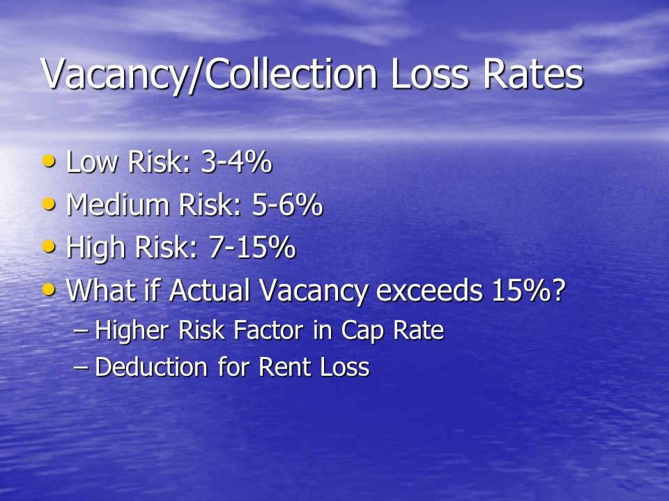 Vacancy/Collection Loss Rates Low Risk: 3-4% Low Risk: 3-4% Medium Risk: 5-6% Medium Risk: 5-6% High Risk: 7-15% High Risk: 7-15% What if Actual Vacancy exceeds 15%.