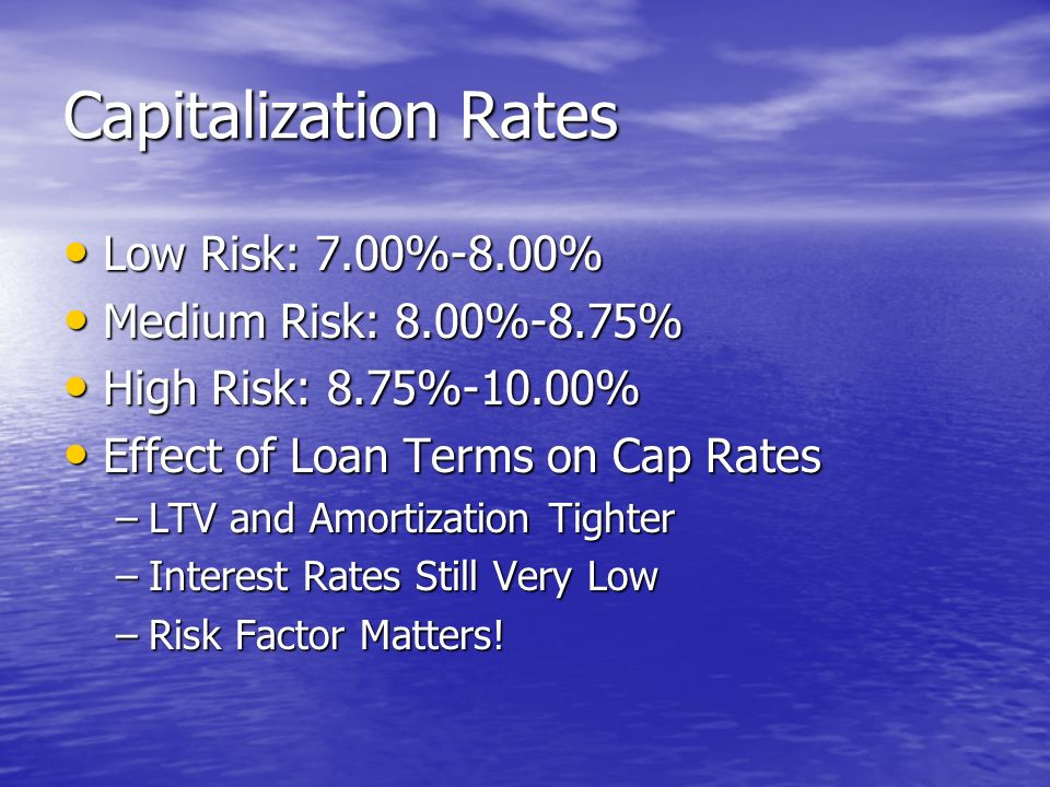 Capitalization Rates Low Risk: 7.00%-8.00% Low Risk: 7.00%-8.00% Medium Risk: 8.00%-8.75% Medium Risk: 8.00%-8.75% High Risk: 8.75%-10.00% High Risk: 8.75%-10.00% Effect of Loan Terms on Cap Rates Effect of Loan Terms on Cap Rates –LTV and Amortization Tighter –Interest Rates Still Very Low –Risk Factor Matters!