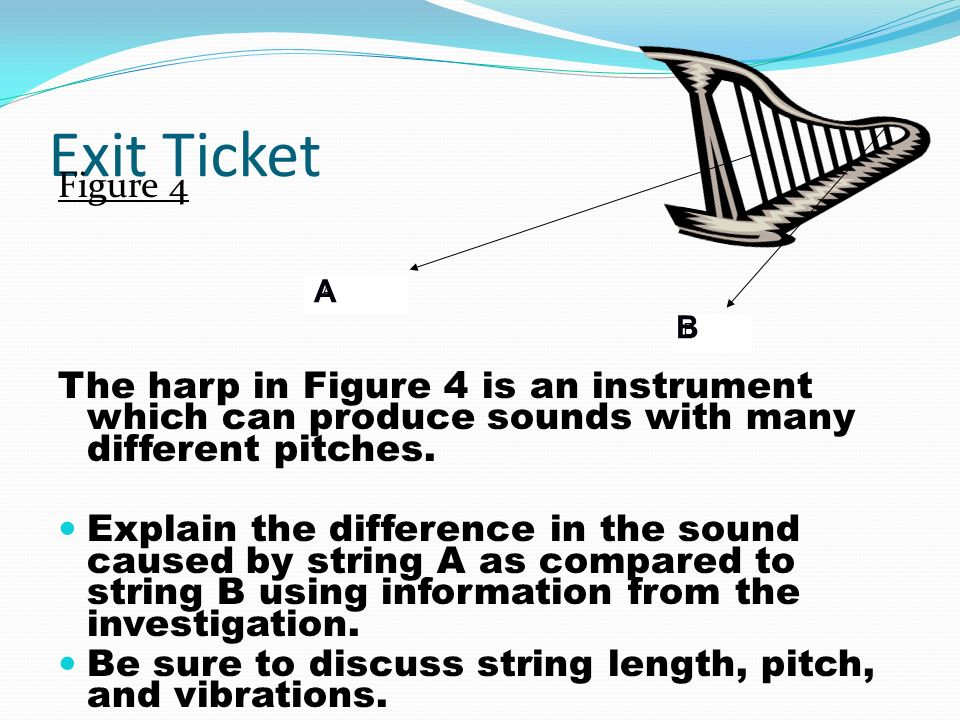 Exit Ticket Figure 4 The harp in Figure 4 is an instrument which can produce sounds with many different pitches.