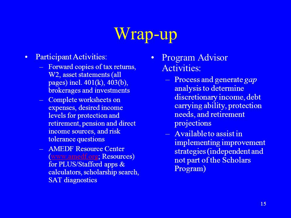 15 Wrap-up Participant Activities: –Forward copies of tax returns, W2, asset statements (all pages) incl.