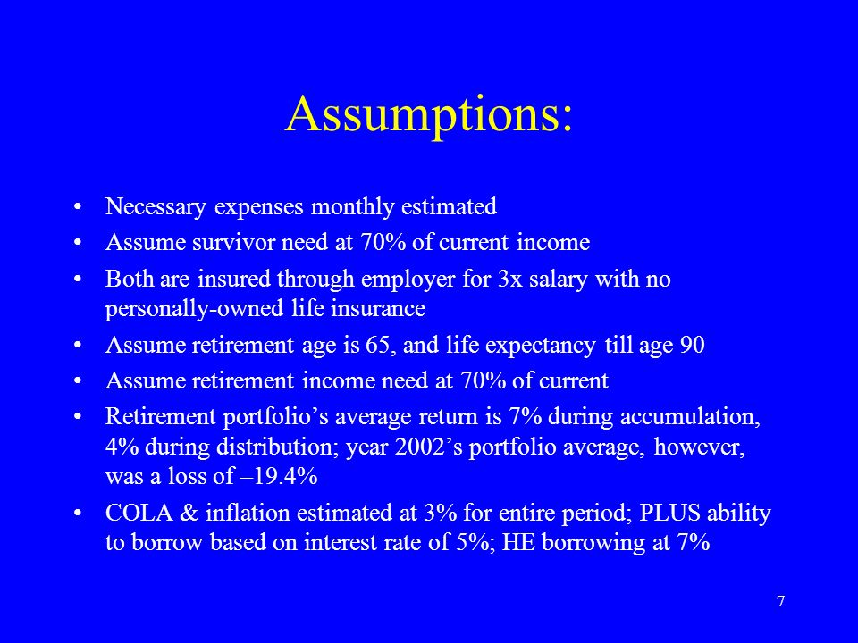7 Assumptions: Necessary expenses monthly estimated Assume survivor need at 70% of current income Both are insured through employer for 3x salary with no personally-owned life insurance Assume retirement age is 65, and life expectancy till age 90 Assume retirement income need at 70% of current Retirement portfolios average return is 7% during accumulation, 4% during distribution; year 2002s portfolio average, however, was a loss of –19.4% COLA & inflation estimated at 3% for entire period; PLUS ability to borrow based on interest rate of 5%; HE borrowing at 7%