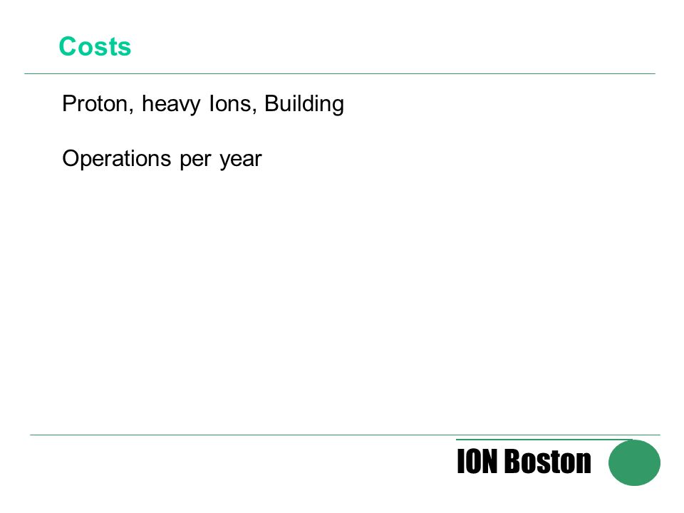 ION Boston Costs Proton, heavy Ions, Building Operations per year