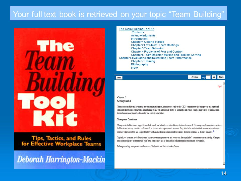 14 Your full text book is retrieved on your topic Team Building The Team Building Tool Kit Contents Acknowledgments Introduction Chapter 1 Getting Started Chapter 2 Let s Meet: Team Meetings Chapter 3 Team Behavior Chapter 4 Problems of Fear and Control Chapter 5 Team Decision Making and Problem Solving Chapter 6 Evaluating and Rewarding Team Performance Chapter 7 Training Bibliography Index