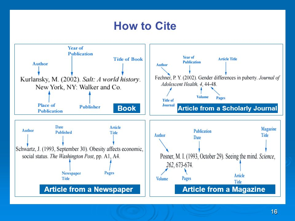 16 How to Cite Book Article from a Scholarly Journal Article from a Newspaper Article from a Magazine