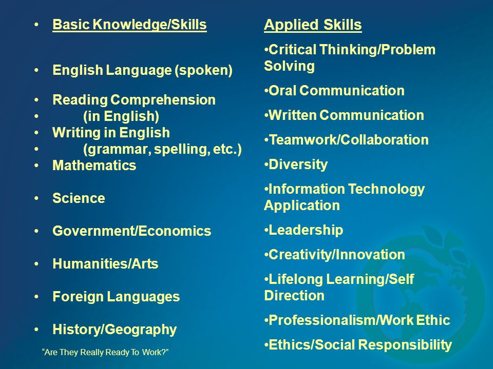 Basic Knowledge/Skills English Language (spoken) Reading Comprehension (in English) Writing in English (grammar, spelling, etc.) Mathematics Science Government/Economics Humanities/Arts Foreign Languages History/Geography Are They Really Ready To Work.
